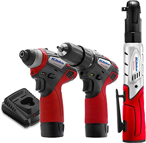 ACDelco G12 Series 3-Tool Cordless Combo 2-Speed Drill Driver Impact Driver Ratchet Wrench, 2-battery, ARW1208-K10
