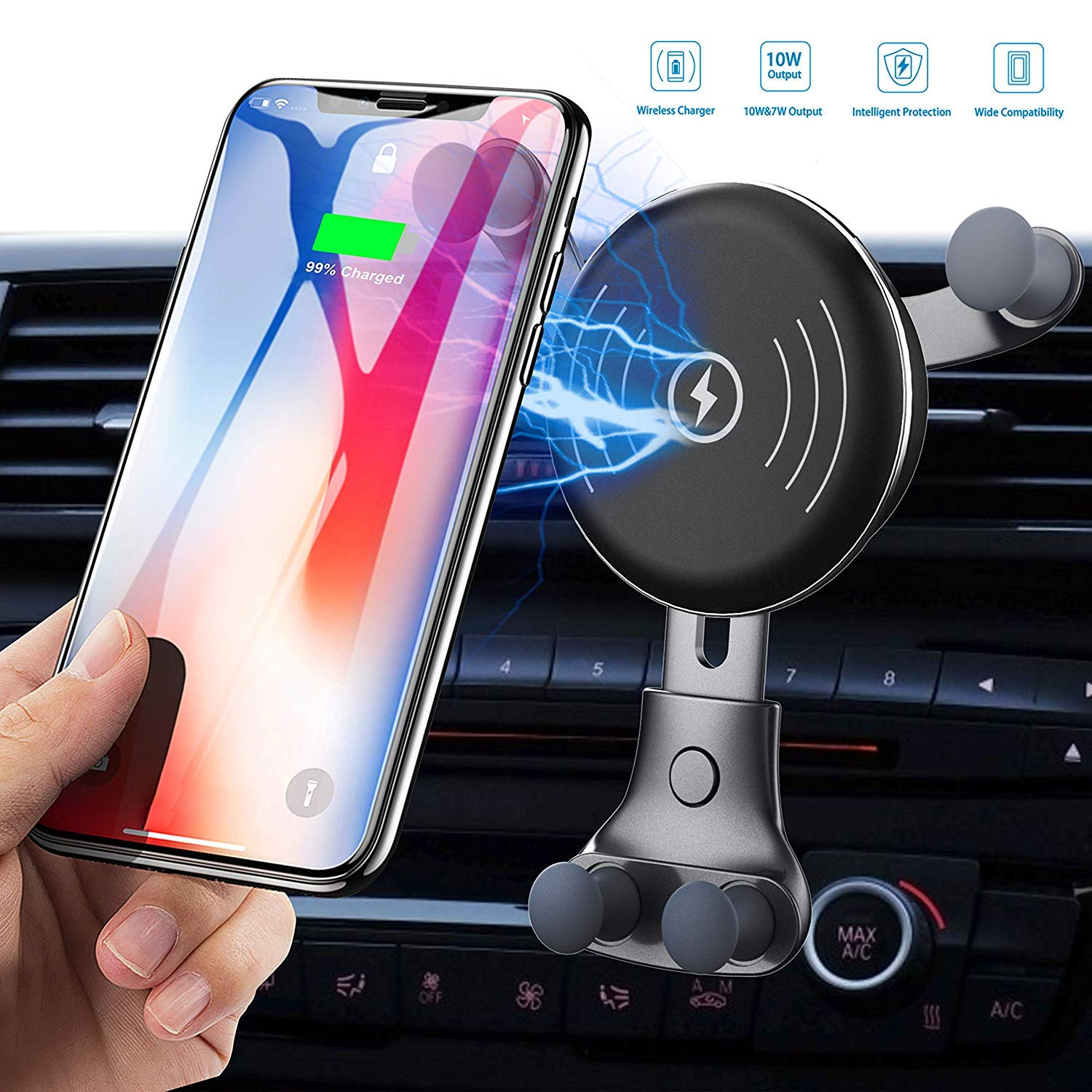 Car Charger, Air Vent Phone Holder, Wireless Car Kit, 10W Compatible for Samsung Galaxy S9 811recar10 by BESTHING