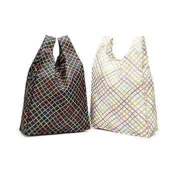f28fb627adafa lanzhd Set von 2 wiederverwendbar Einkaufen Taschen Laden faltbar und  wiederverwendbar Tasche Ripstop Dick Nylon für