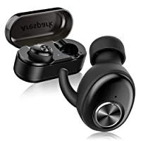 Wireless Earbuds, Arespark AP-01 True Bluetooth Headphones, Dual Bluetooth 5.0 Earpieces with Easy-Link Technology, IPX5 Waterproof Sweatproof Noise Cancelling Earphones, Built in Mic Cordless in Ear Headsets, for Gym Sport Running, fit iOS Android Windows iPhone Samsung, with Portable Charging Case