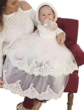 Portsvy White Long Baby Christening Gowns Tulle Baptism Formal Gowns with Applique