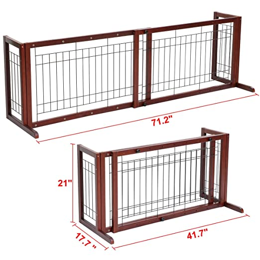 Amazon.com : Pet Fence Gate Free Standing Adjustable Dog Gate Indoor Solid  Wood Construction : Baby