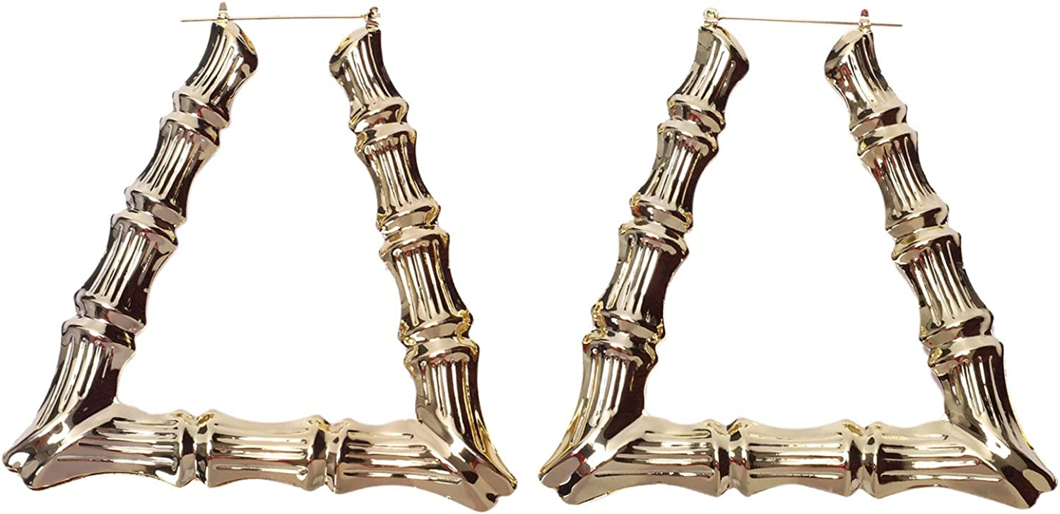 Summerwindy Fashion Fancy Punk Hip-Hop Style Gold Bamboo Trapecio Pendientes Exagerados Grandes