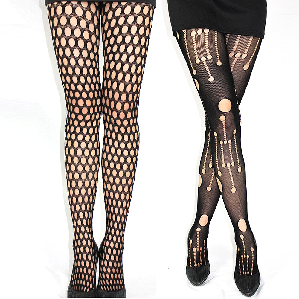 2 Pack Sexy Women Black Fishnet Lace Pantyhose Hosiery Hollow Out Soft Mesh Tights With Elastic Waistband (Style 3)