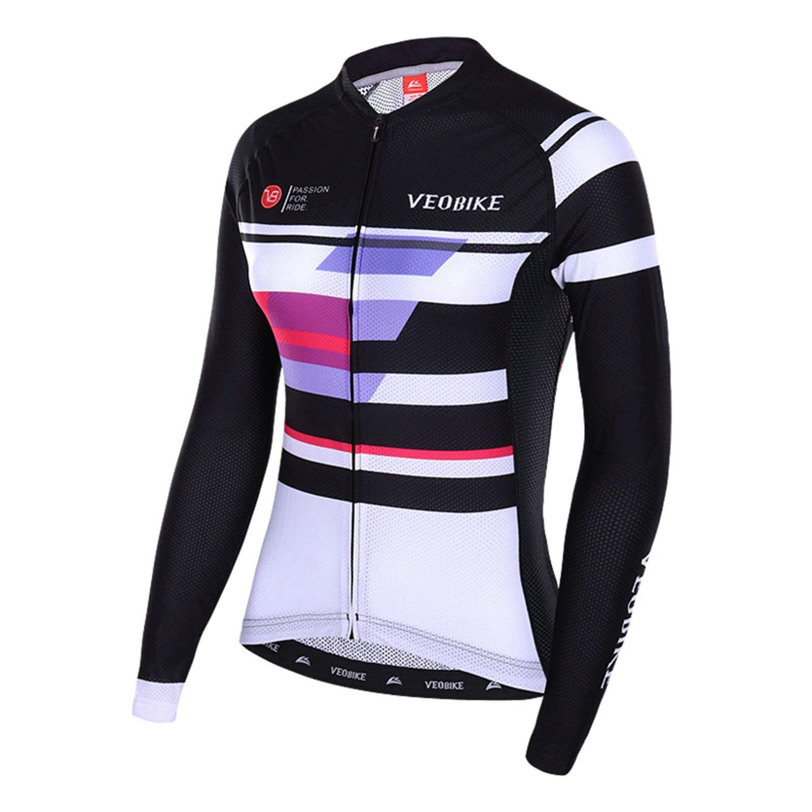 Aooaz Women's Cycling Clothes Full Sleeve Riding Wear Long Sleeve Mountain Bike T Shirts Black Size S