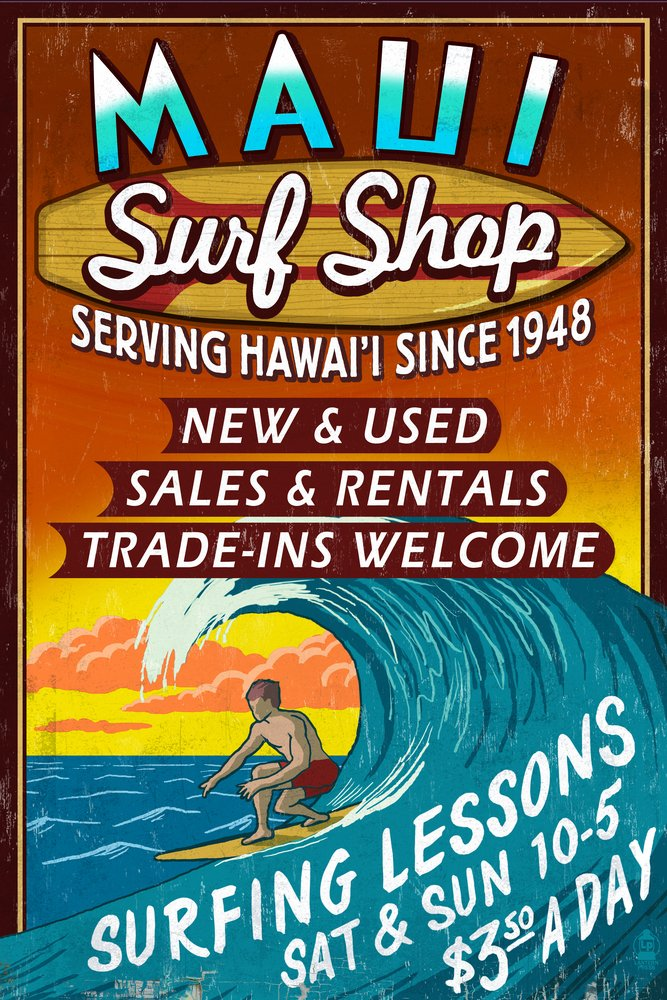 Surf Shop Vintage Sign - Maui, Hawaii (12x18 Art Print, Wall Decor Travel Poster)