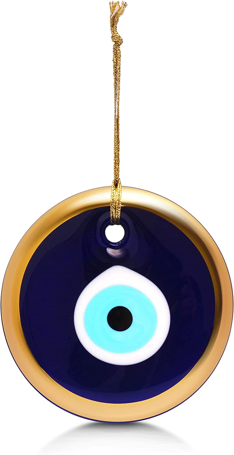 Glass Blue Evil Eye Turkish Nazar Wall Art Home Blessing Wall Decor Amulet, 5 Inches Gold Border