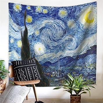 PYHQ Van Gogh la Noche Estrellada Pared Tapiz Cobija Encima Cuarto ...
