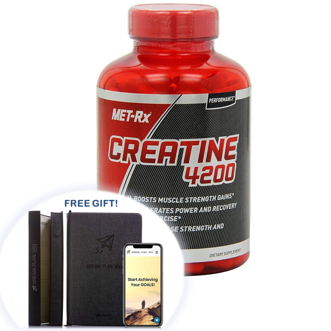 MET-Rx Creatine 4200 Supplement, Supports Muscles Pre and Post Workout, 715 Capsules + Free Gift - Productivity Planner - Attain Your Dreams! (715 Count)