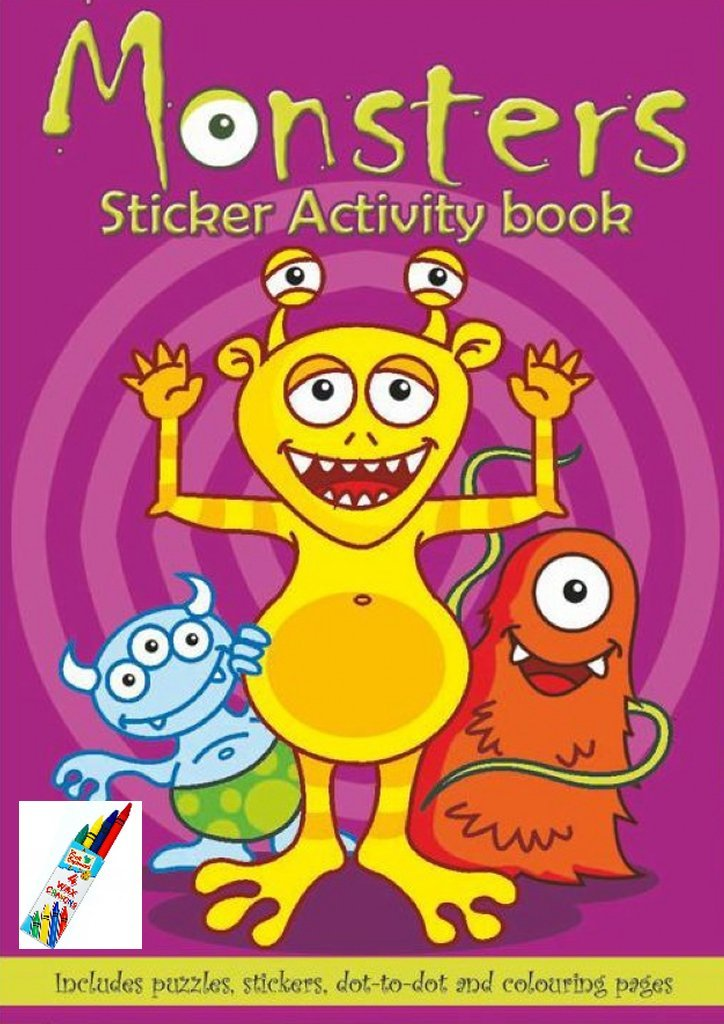 **** SUPER COOL Party Bag Sticker Books With FREE CRAYONS in 9 Great Designs - Pack OF 12 *** (Butterflies & Bugs) Wicked Giggles