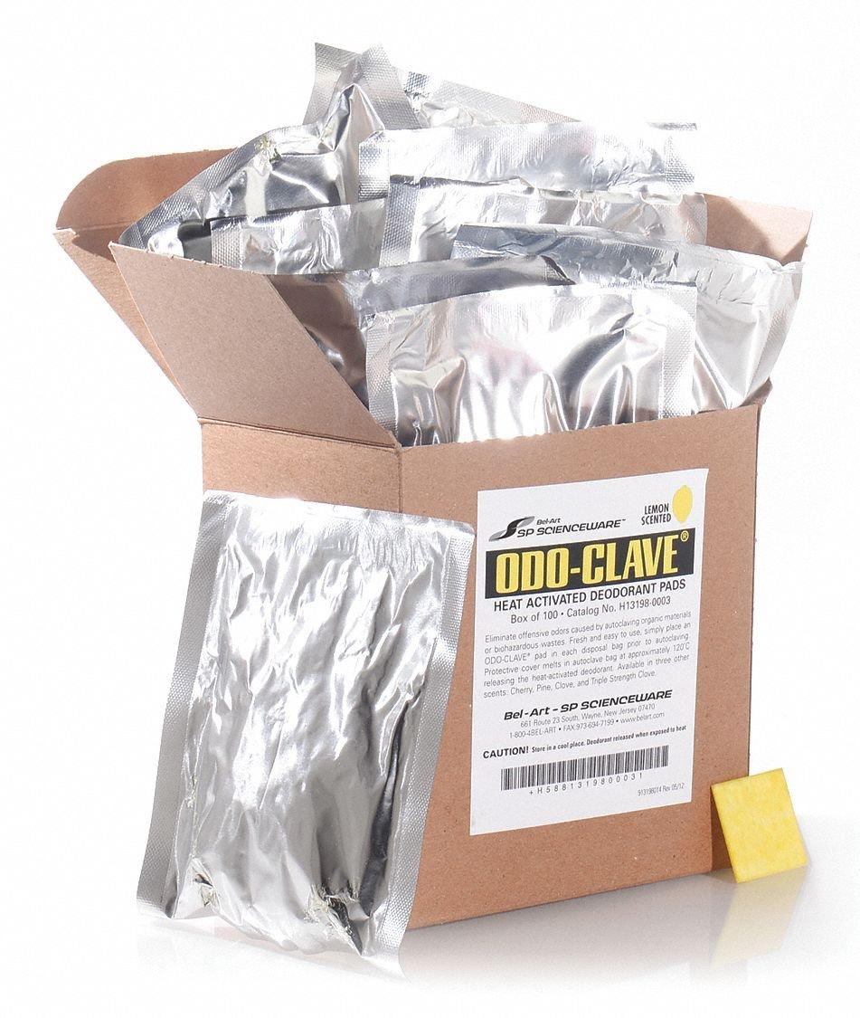 Autoclave Disposable Bag Deodorant Pad, Lemon, 1-1/4'' Height, 1-1/4'' Width, 100 PK