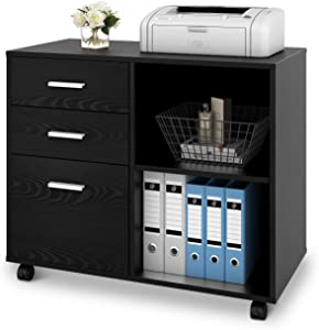 DEVAISE 3-Drawer Wood File Cabinet, Mobile Lateral Filing Cabinet, Printer Stand with Open Storage Shelves for Home Office, Black