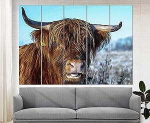 Highland Cow Canvas Print, Highland Cow Painting, Cow Print, Modern Wall Art, Cow Poster Home Decor Cow Art Cow Photo Modern Wall Décor