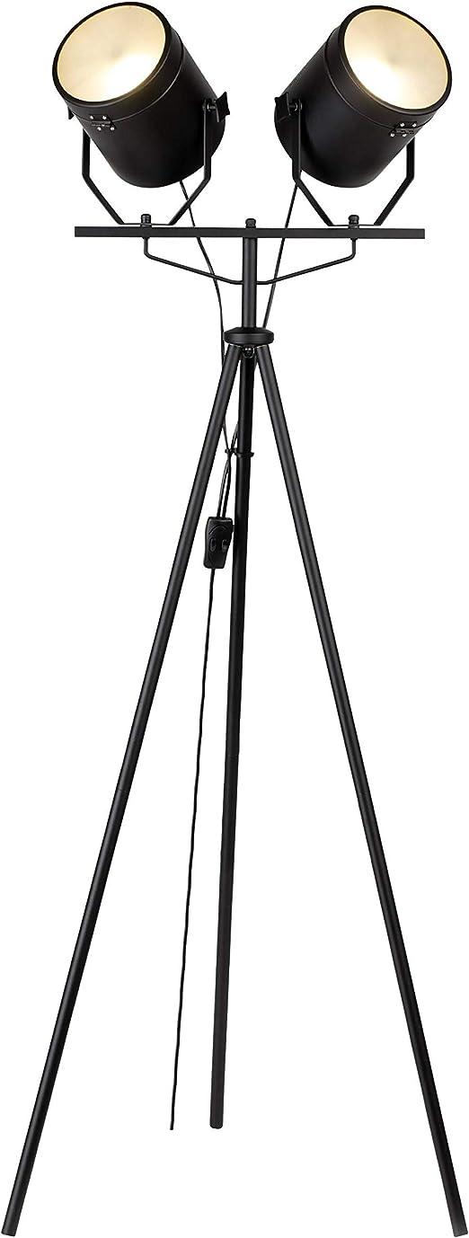 Lampadaire projecteur trépied 2 spots orientables FILMO noir