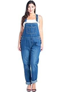 df1e53853ba Amazon.com  dollhouse Women s Plus Size Destructed Skinny Overall ...