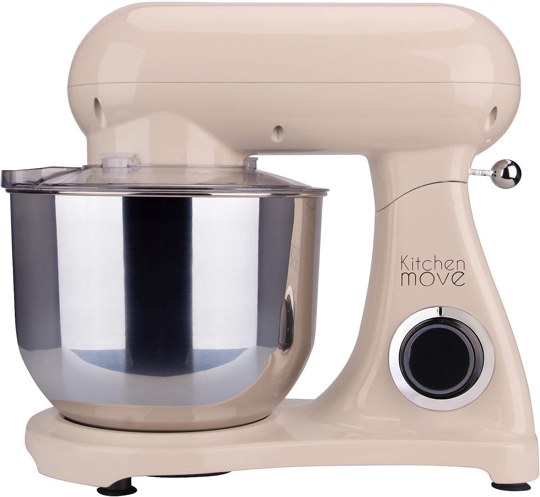 Robot de cocina multifunción de diseño vintage, 1800 W, cuenco de acero inoxidable, 6,5 l, color marfil crema