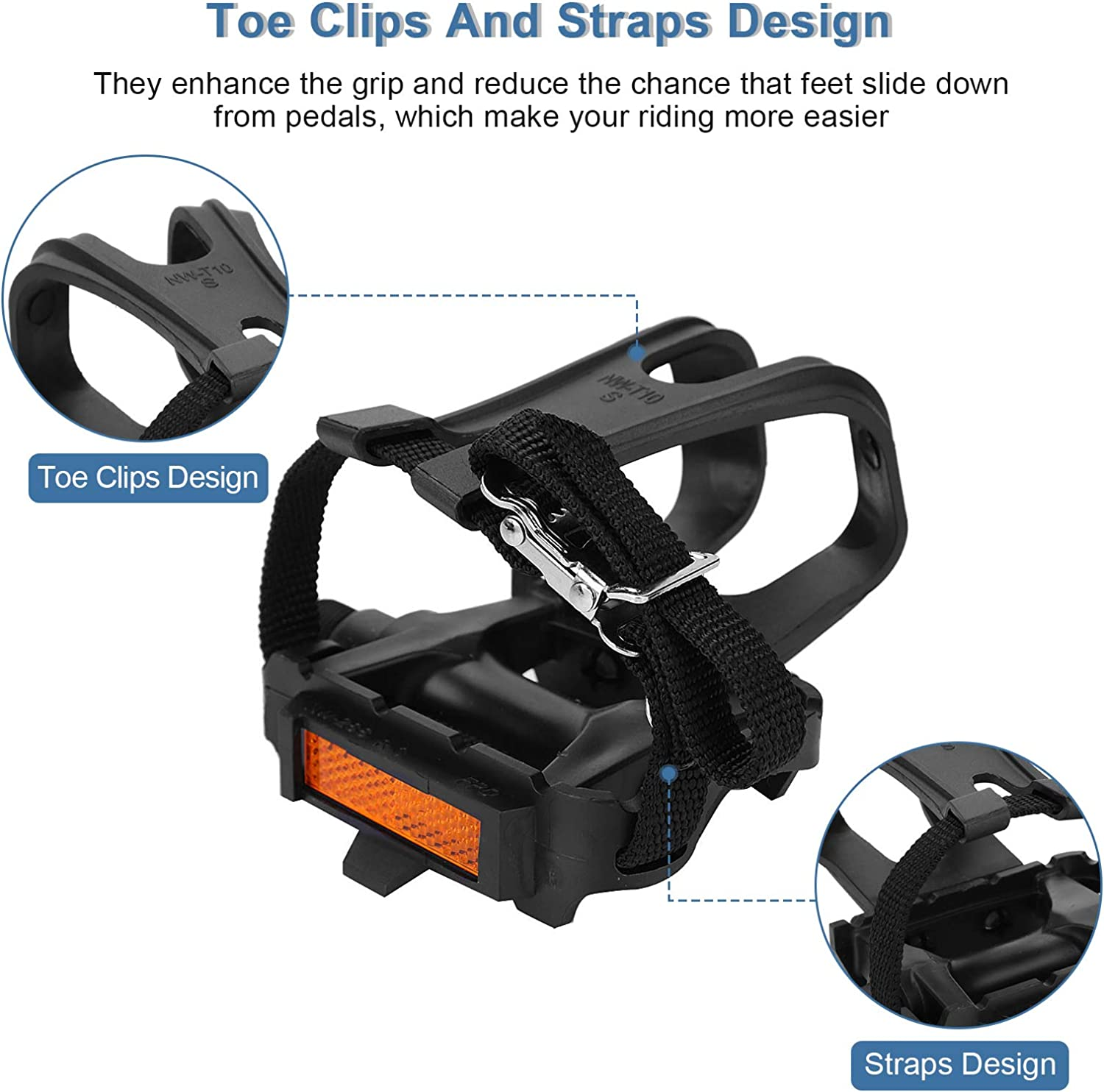 Yosoo Health Gear Toe Cages for Peloton Bike Bicycle Pedal Adopts Lightweight Hollow-out Design 1 Pair Road Bike Pedals Mountain Bike Pedals with Toe Clips and Straps Design