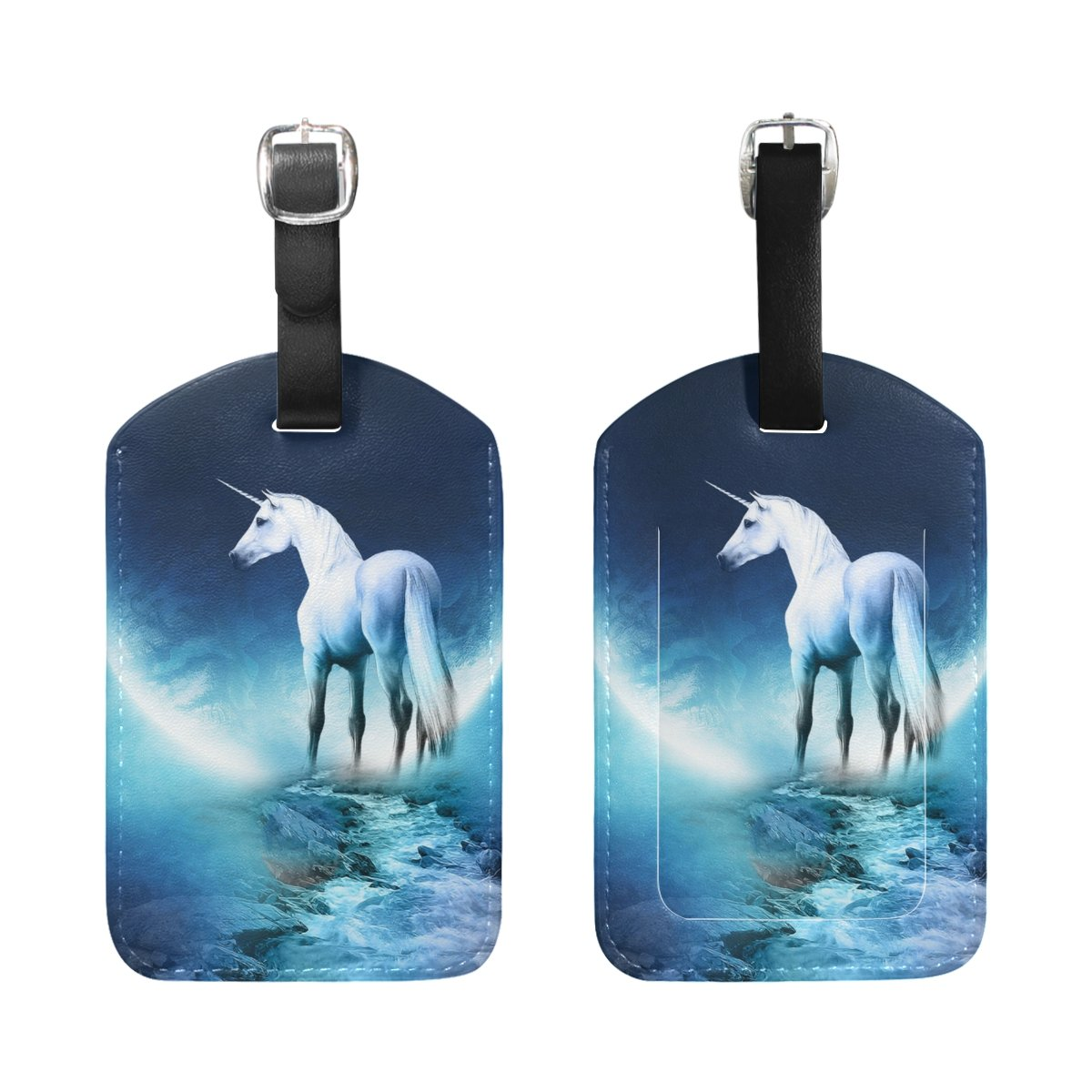 Saobao Travel Luggage Tag White Unicorn PU Leather Baggage Suitcase Travel ID Bag Tag 1Pcs