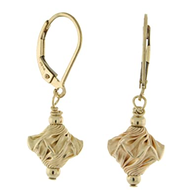 Sterling Silver Corrugated Saucer-Shaped Bead Dangle Lever Back Earrings