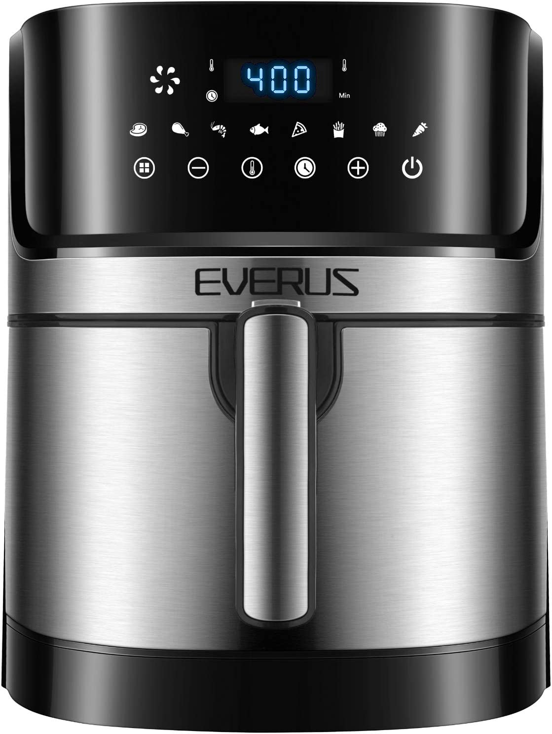 Air Fryer EVERUS 1700-Watts Hot Air Fryer Oven XL 5.8QT, Stainless Steel Electric Air Fryer Oilless Cooker with 8 Presets, Nonstick Square Basket, 2 Years Warranty, ETL Listed