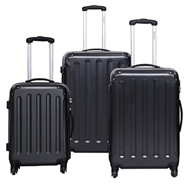 Goplus 3 Pcs Luggage Set Hardside Travel Rolling Suitcase ABS Globalway