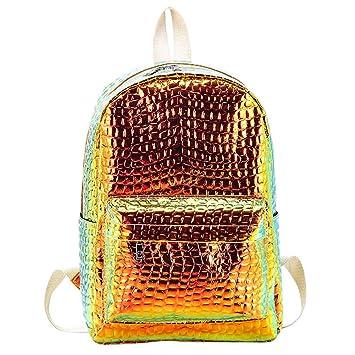 SoonerQuicker Pequeño Bolso para Mujer con láser, Mochila Escolar, diseño de Piedras, Bolso de Viaje, Unisex, Amarillo: Amazon.es: Deportes y aire libre
