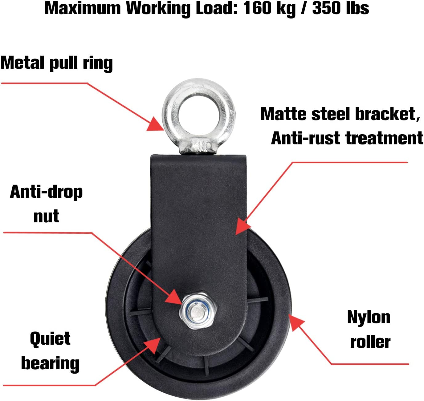 360 Degree Rotation Traction Wheel Pulley Cable Machine Attachment for Lifting Blocks TOBWOLF 90mm Silent Nylon Fitness Pulley Wheel Cable Machine Gym Equipment Ladder Lift DIY Home Projects