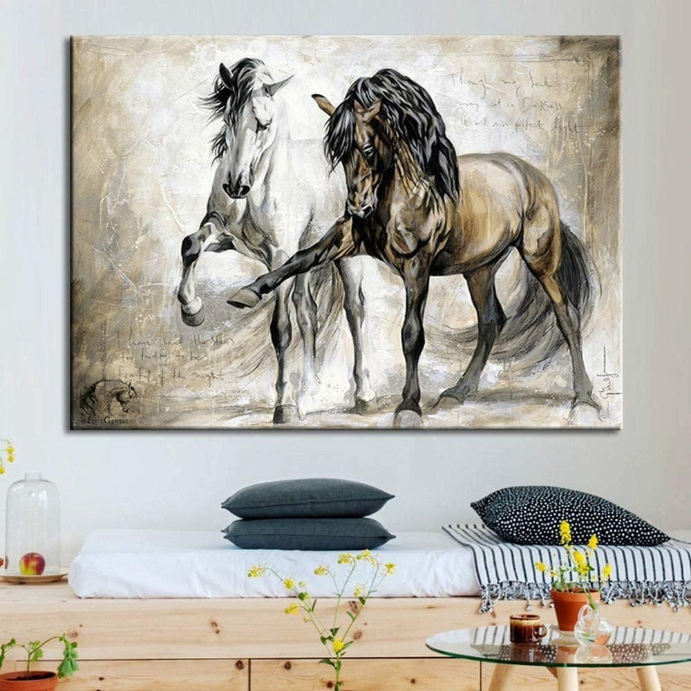 N / A Pintura sin Marco Vintage Caballo Lienzo Pintura HD Animal Potente Pared Artista decoración del hogar muralZGQ7449 40x55cm