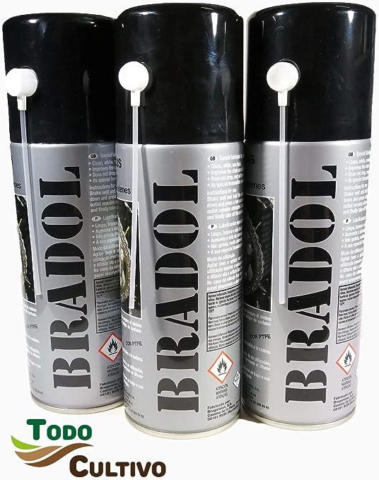 BRADOL Cadenas 400 ml. Pack 3 unidades. Lubricante para cadenas de ...