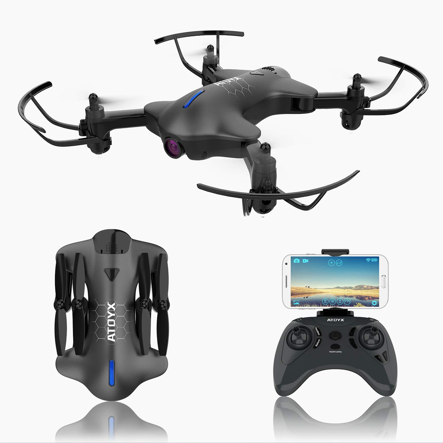 ATOYX AT-146 FPV Foldable RC Drone Black Optical Flow Position 720P Wide Angle HD Camera Live Video WiFi Quadcopter with Altitude Hold Headless Mode