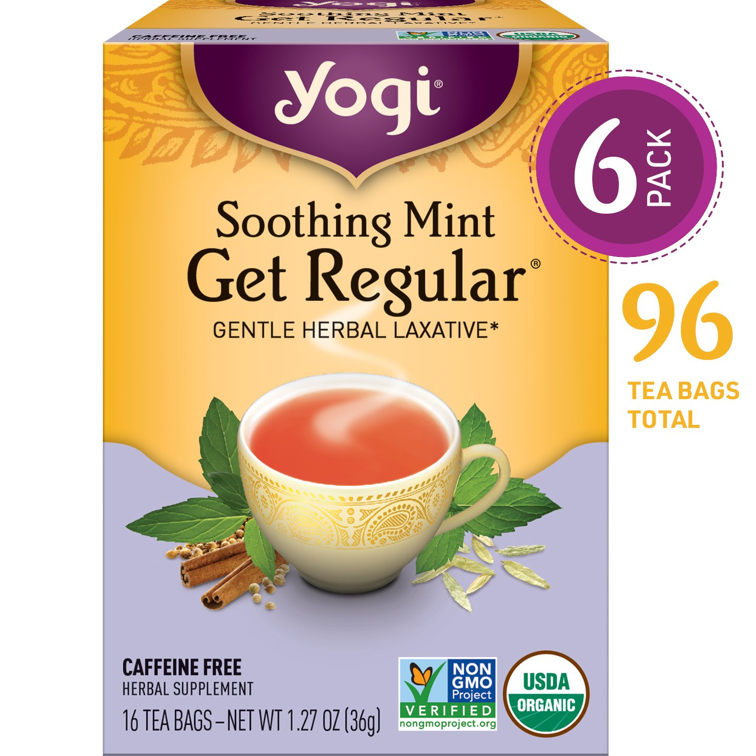 Yogi Tea - Soothing Mint Get Regular - Gentle Herbal Laxative - 6 Pack, 96 Tea Bags Total by Yogi