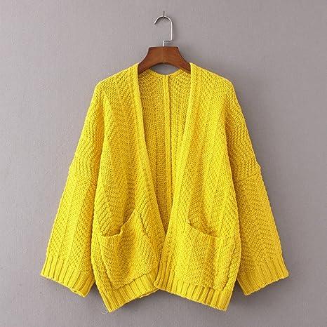 ... de Moda Casual de Color sólido Cardigan de Manga Larga de Gran tamaño Suéter Flojo Outwear Escudo(Un tamaño, Amarillo): Amazon.es: Ropa y accesorios