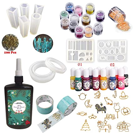 250g UV Epoxy Resin Crystal Clear Fast Cure + 13 Color Pigments + 12  Glitters & Sequins + 9 Silicone Molds + 17 Open Back Bezels + 2 Glueless  Tapes +