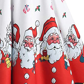 Sukienka bożonarodzeniowa, damska w stylu vintage, z krÓtkim rękawem, linia A, dekoracja bożonarodzeniowa, sukienka koktajlowa, Święty Mikołaj, moda damska, nadruk na Boże Narodzenie, b