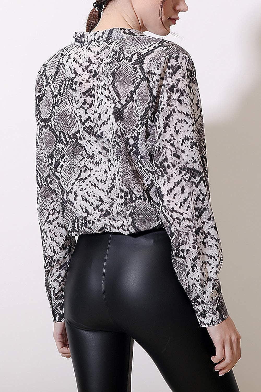 Le Donne Camicetta Moda Pelle di Serpente Stampa//Collo in Camicia A Maniche Lunghe