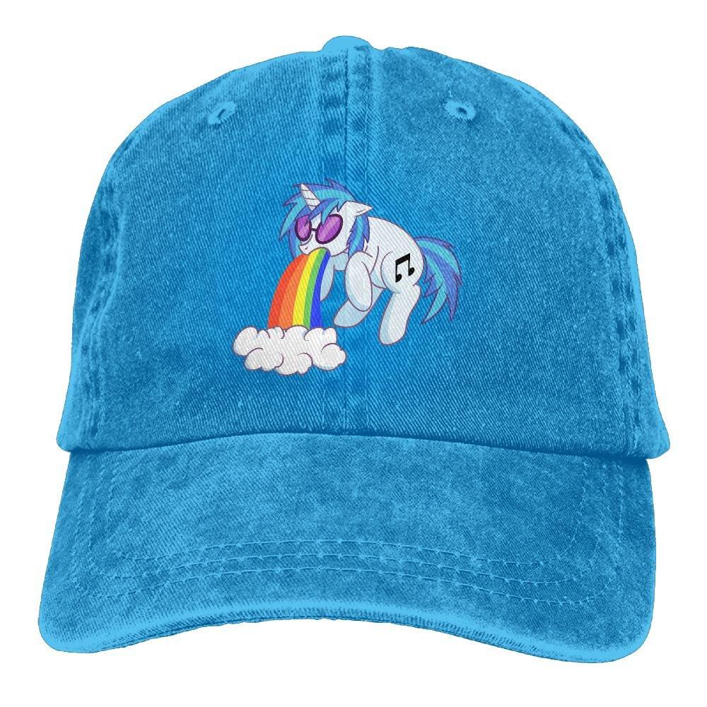 Rainbow Unicorn Reusable Trend Printing Cowboy Hat Fashion Baseball Cap For Men and Women Black
