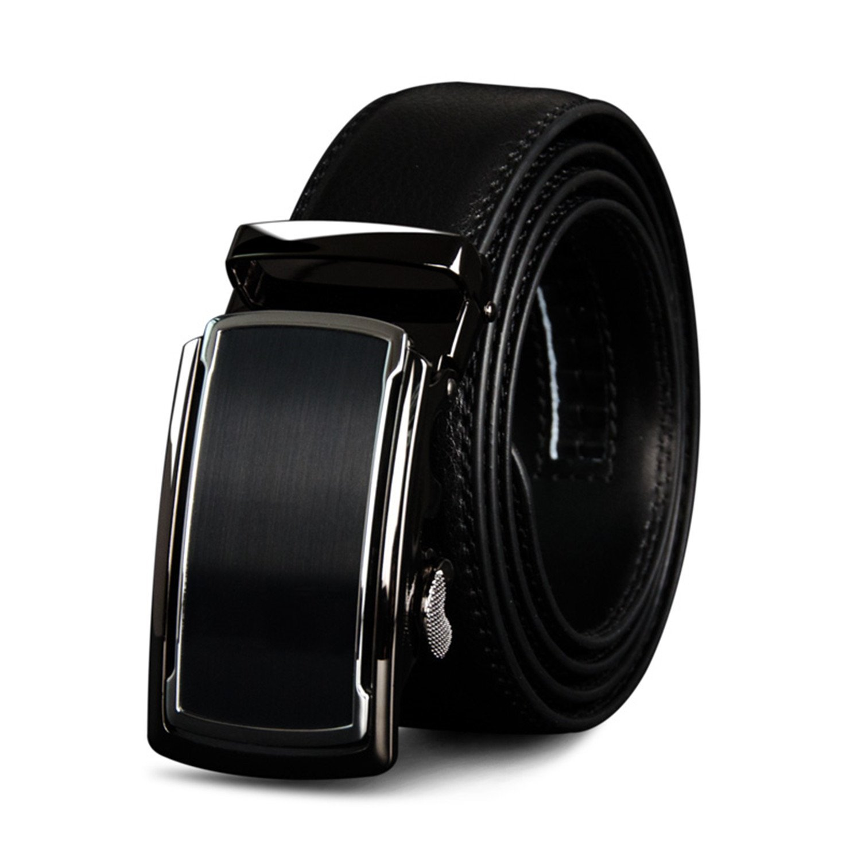 Leather Men Belts Men Automatic Buckle Male Belts Vintage Buckle Leather Belts 110-130cm blackCZ065 110cm