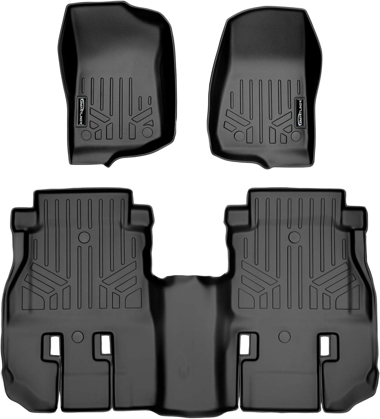 SMARTLINER Floor Mats 2 Row Liner Set Black for 2018 2019 Jeep Wrangler Unlimited 4 Door JL New Body Style not JK