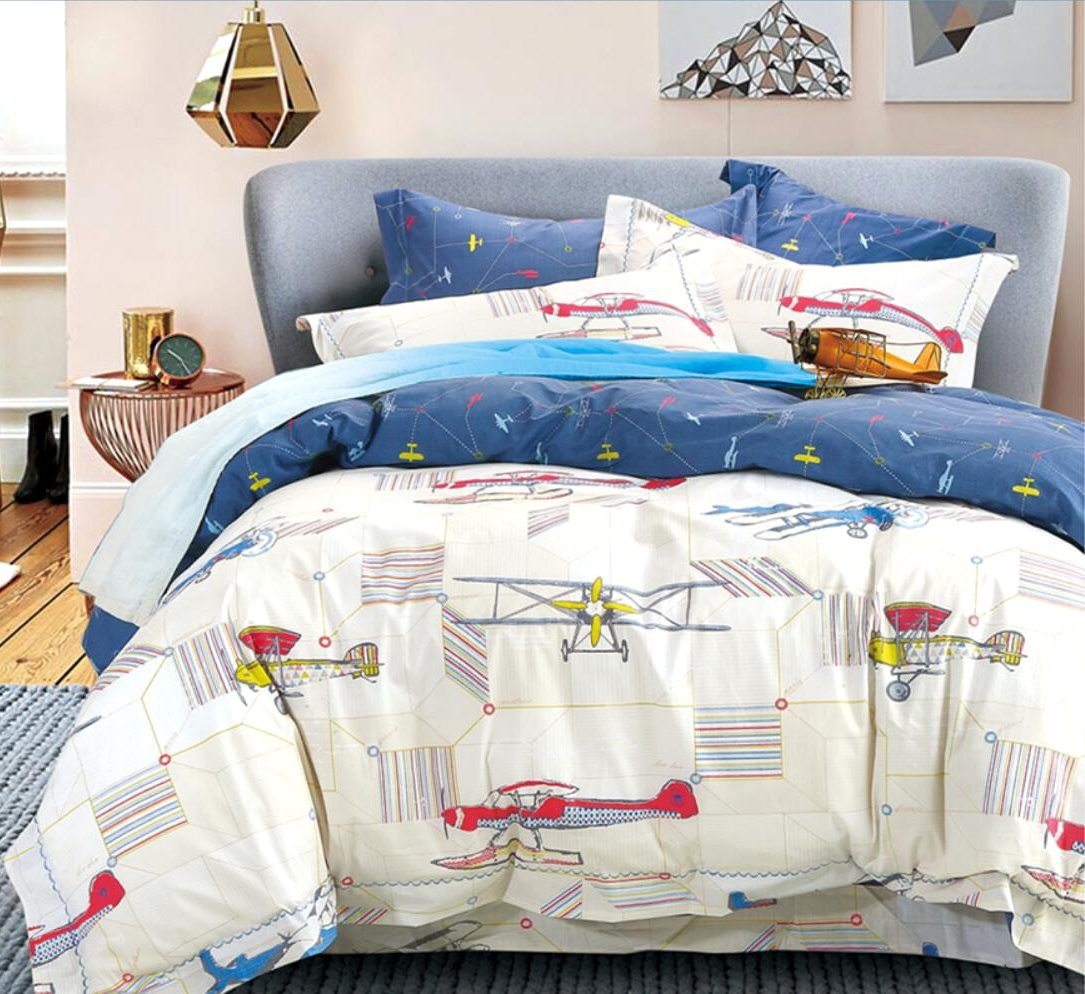 Vintage Airplanes Boys Bedding 3pc Duvet Cover Set 100% Cotton Grey Blue Red Gray Helicopter Flying Plane World Travel Decor Bedroom (Twin)