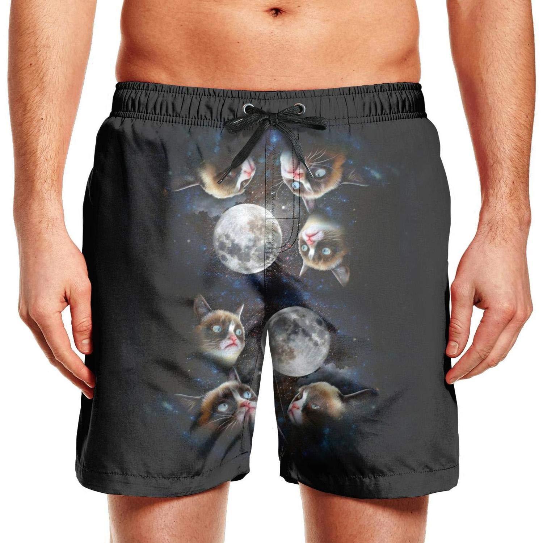 Mens Grumpy cat Galaxy Starry Sky Swim Trunks Holiday Beach Shorts Holiday Board Shorts