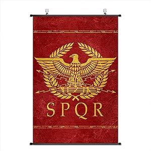 Nice Captain Ancient Roman Period Cultural Symbol Scroll Poster Empire Banner Wall Art Home Decor 75x50cm (Rome)