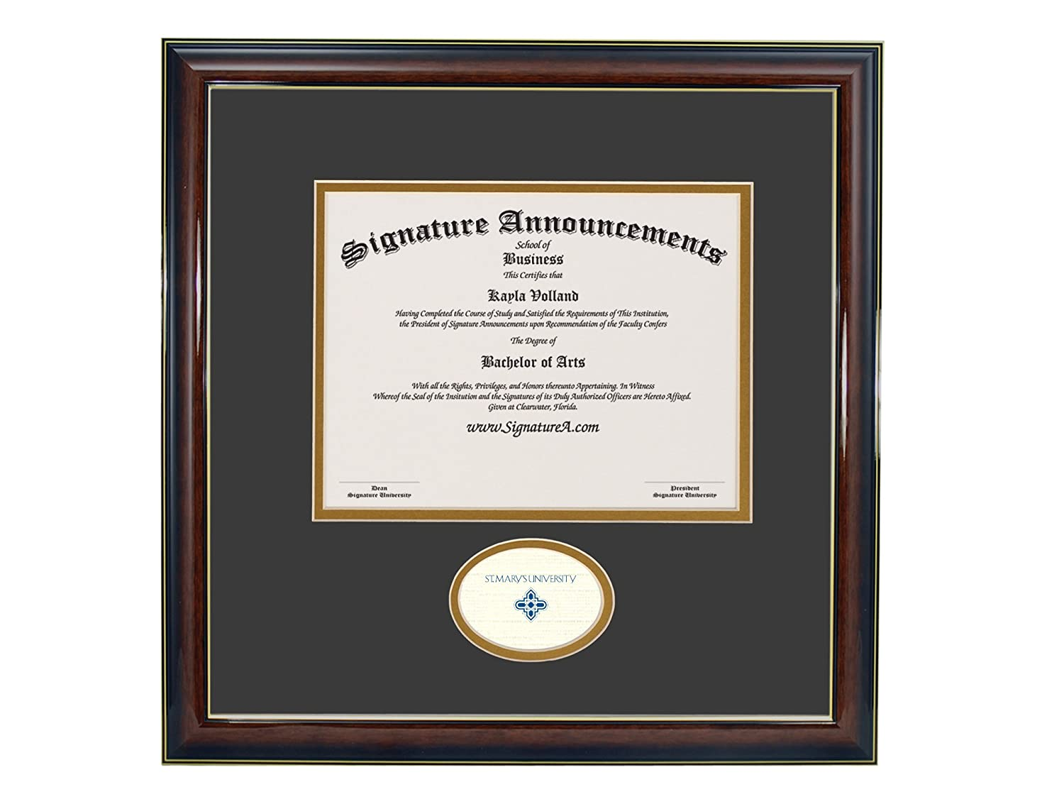 Signature Announcements St-Marys-University Sculpted Foil Seal Graduation Diploma Frame 16 x 16 Gold Accent Gloss Mahogany