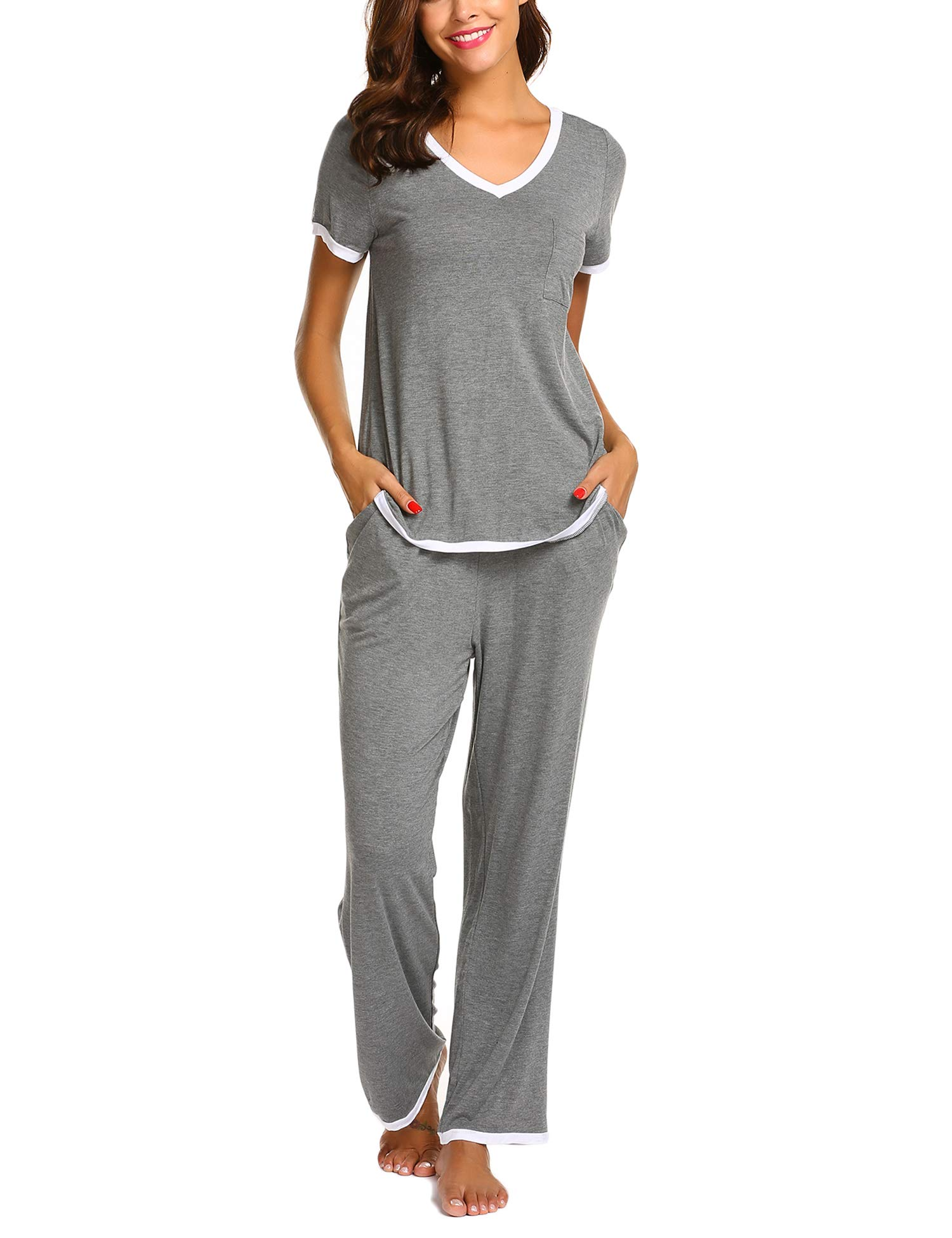 Ekouaer Women Pajamas Set V-Neck Short Sleeve Top and Elastic Waist Long Pants Lounge Sleepwear (Gray XL) by Ekouaer (Image #3)