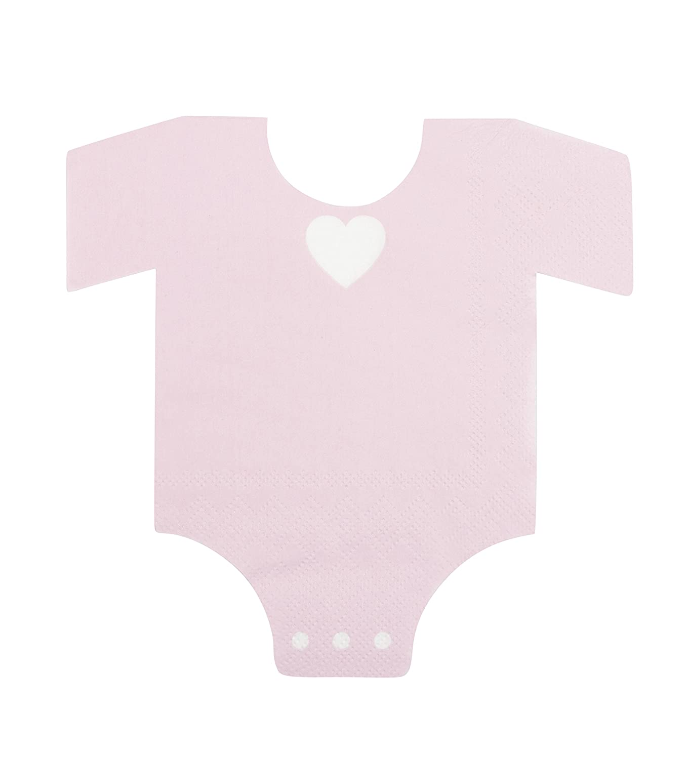 Blue Panda 50-Pack Die-Cut Light Pink Paper Baby Girl Shower Napkins, One Piece Outfit Design