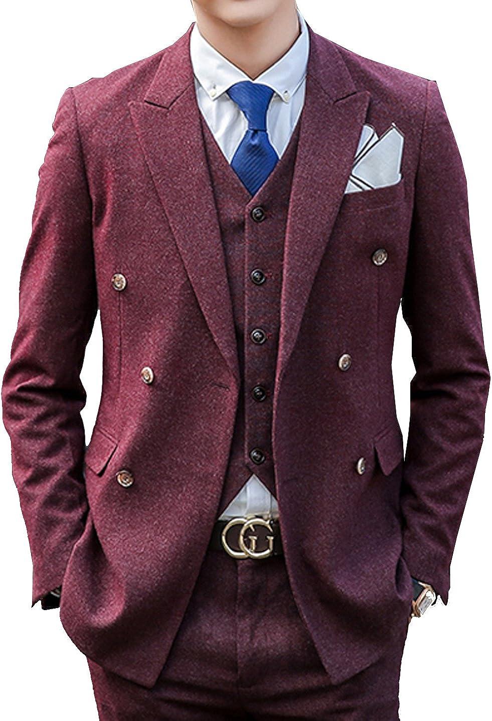 SWORLD Mens Premium Double breasted 3-piece Suit Blazer Jacket Tux Vest /& Trousers Set