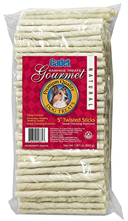 Cadet Rawhide Twist Sticks Dog Chews, 5 Inch, 100 Count, 6 Pack