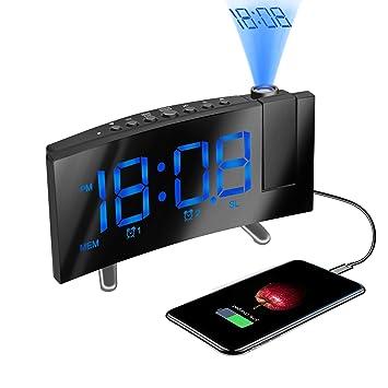 HQQNUO Radio Despertador Proyector Reloj Despertador Digital Dobles Alarmas Función Snooze Puerto USB Reloj de Proyección Giratorio de 120 EU Plug 12/24 ...