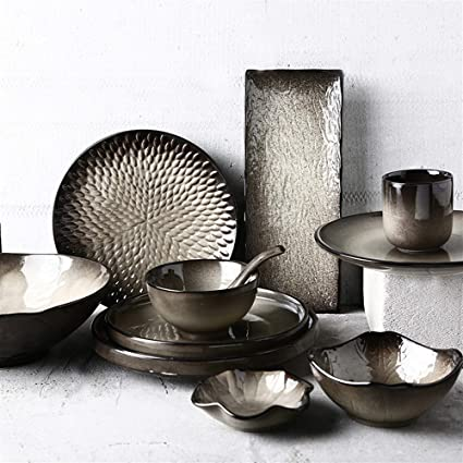Keyi le Lujo Placa de cerámica, Niebla Negra, Creativa cubertería Japonesa, Plato Vintage