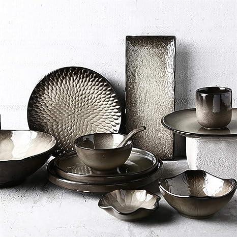 Vajilla Placa de cerámica, niebla negra, creativa cubertería japonesa, plato vintage, tazón