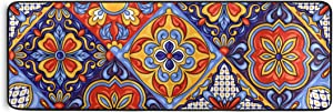 Blueangle Mexican Ceramic Tile Pattern Runner Rug 2' x 6' Non Skid Rug for Entryway Living Room Bathroom Nursery Home Decor